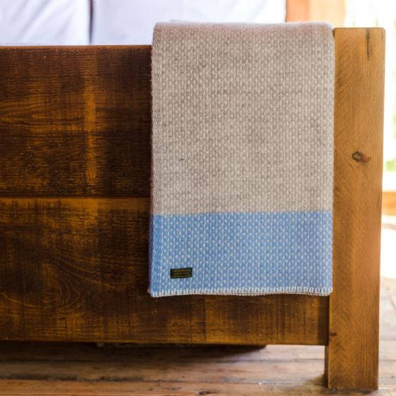 Blue Sea & Grey Wool Blanket / Throw - Panel